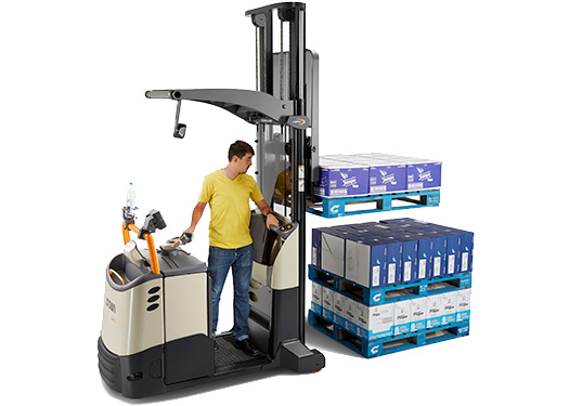 the MPC order picker with mast can stack multiple pallets