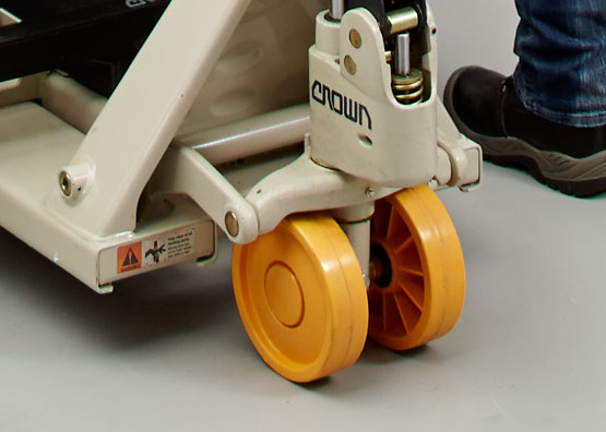 the PTh hand pallet truck is available with rubber or nylon steer wheels