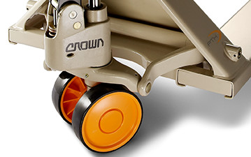 the hand pallet truck's steer and load wheels provide low rolling resistance