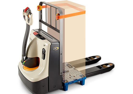 the pallet truck WP is available with load stabiliser strap