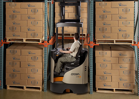 ESR reach truck with drive-in rack overhead guard
