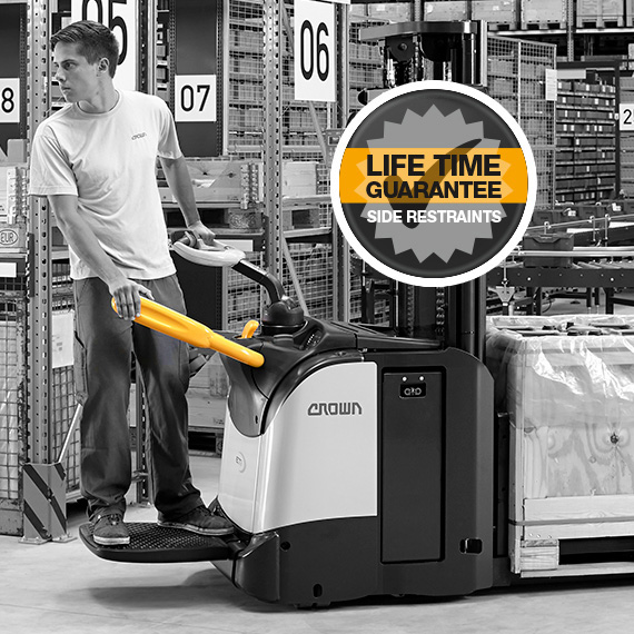 ET platform stackers feature folding side restraints with a lifetime guarantee