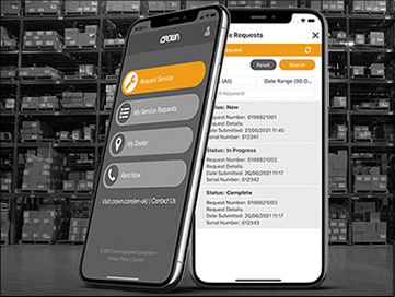 forklift service request app from Crown