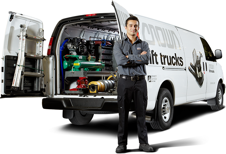 Crown service technician and service van