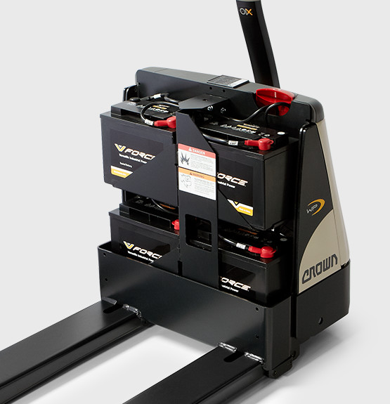 pedestrian pallet truck with no back cover exposing v-force batteries