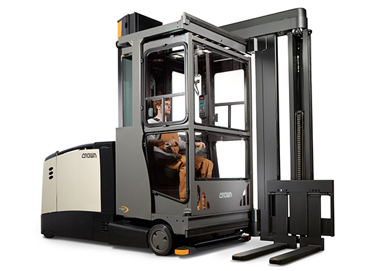 Turret forklift with freezer cabin