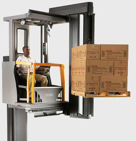 The TSP series turret forklift features top performance speeds and a regenerative lowering system