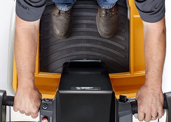 the WAV order picker features dual foot pedals for safe operation