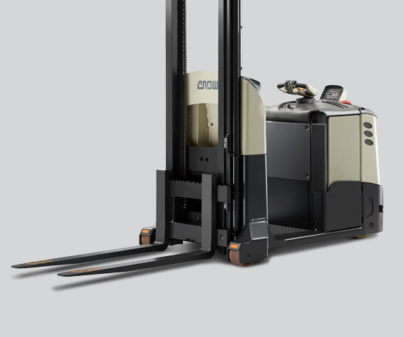Angled view of Crown's MPC series order picker forklift