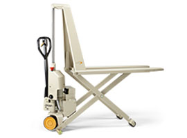 Hand pallet jack with powered scissor lift