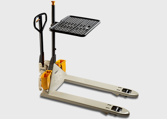 PTH hand pallet jack with work assist accessories