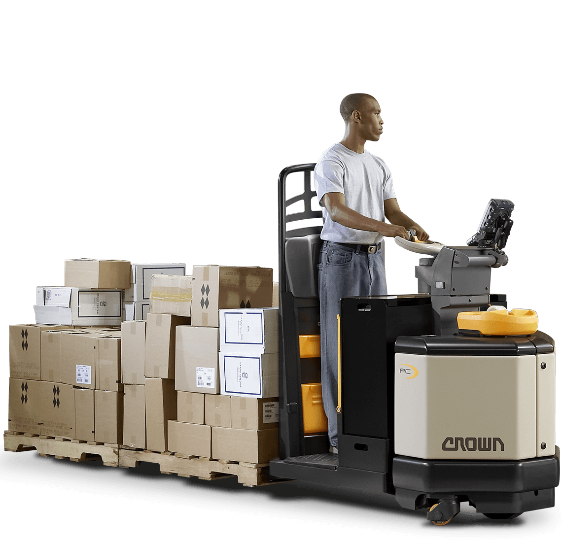 Operator moves a load using Crown's PC series center control pallet truck