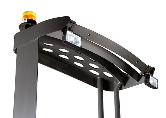 Sit-down reach truck LED work lights and flashing lights