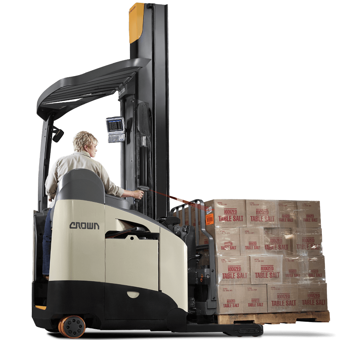 Operator transports a load on the RM/RMD narrow-aisle reach truck
