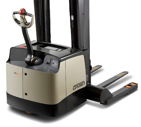 Crown's SH/SHR series walkie pallet stacker features a robust frame constructed to increase durability