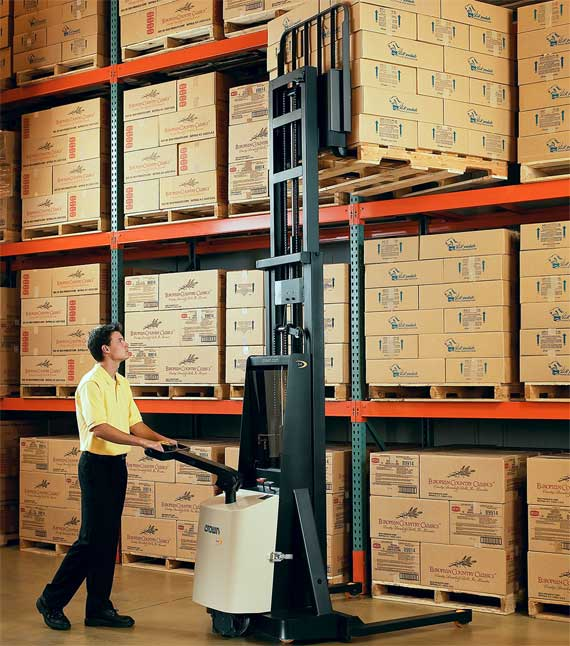 The M Series walkie stacker can be used in a pallet racking application