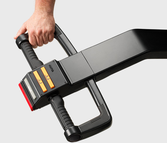 The WB series walkie stacker features a heavy-duty control handle for comfortable steering