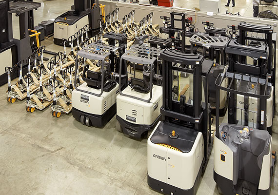 crown forklift fleet stored in a warehouse