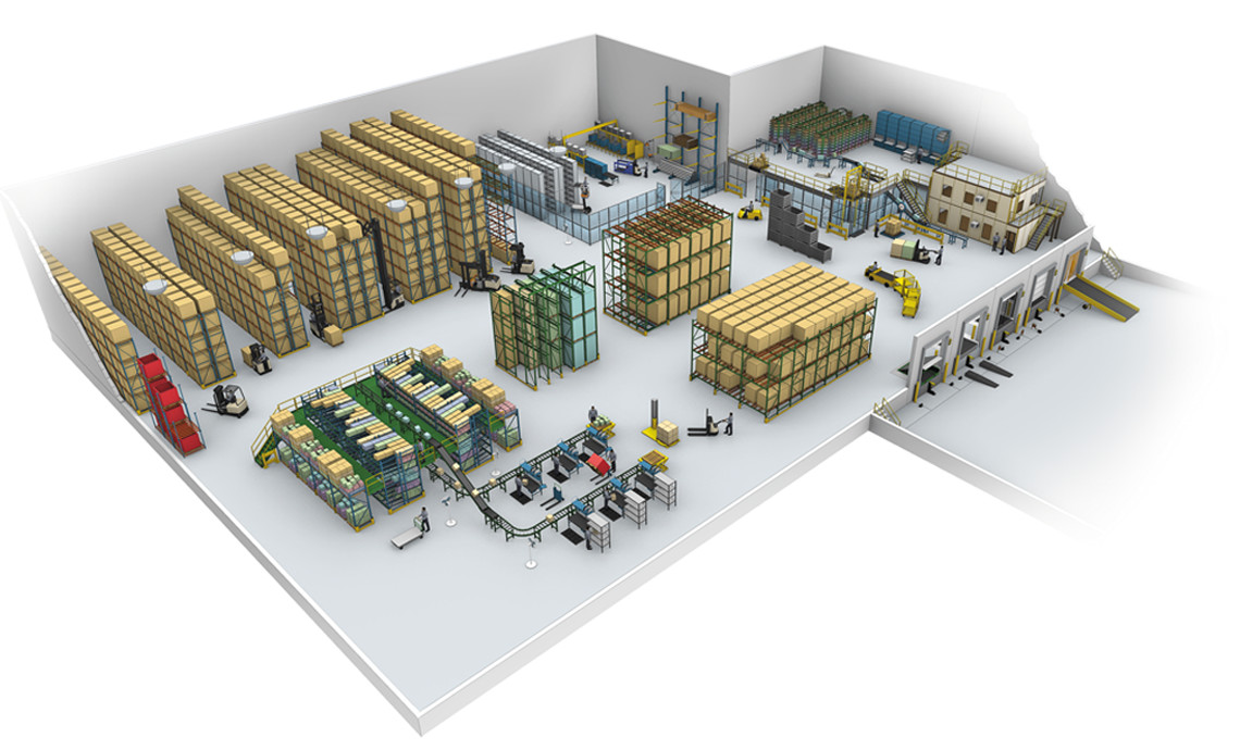 Warehouse floor plan featuring Crown warehouse products. Racking, shelving, pre-assembled building structures and more are available.