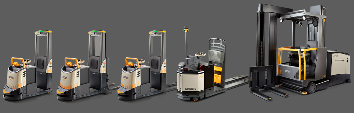 Automation ready, dual mode AGV lift trucks for transport, picking, stacking and more.