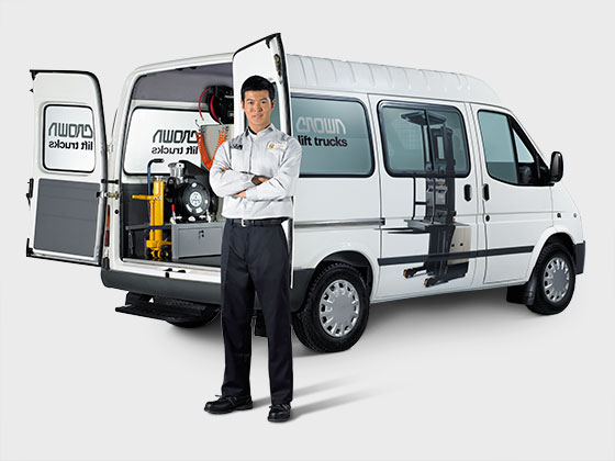 two crown service technicians with crown service van