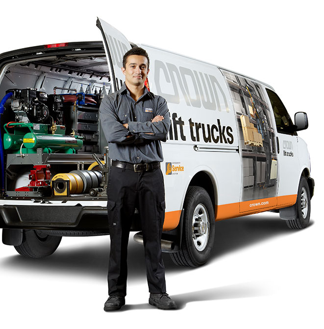 Crown service technician with fully equipped Crown service van